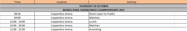 Para timetable
